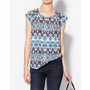 Pale Sky v neck ikat print top with cap sleeves